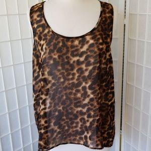 Plus size leopard print tank top
